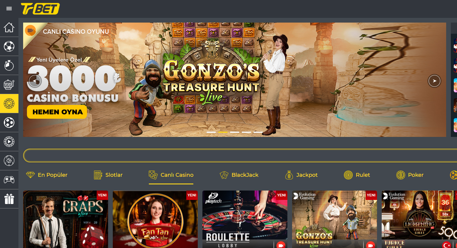 trbet canli casino oyunlari nelerdir